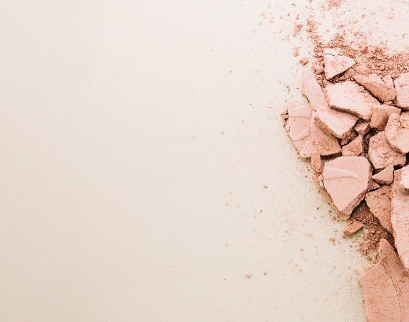 close up of broken face powder