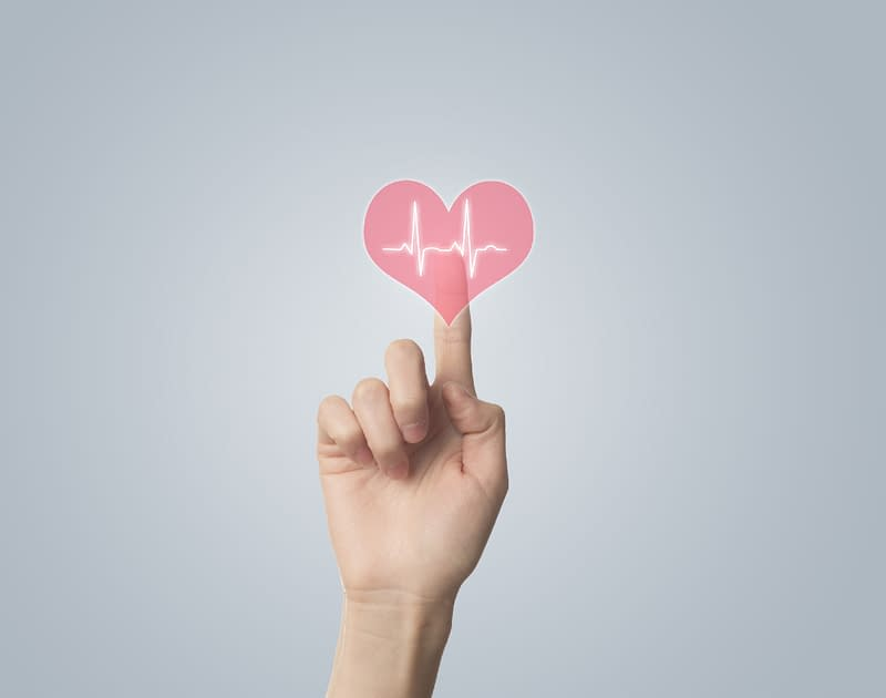 finger touching heart rate icon